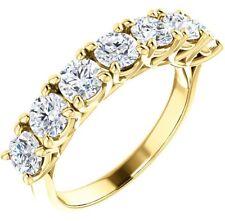 Gold Ring 7 x 0.30 Gia E-F Vvs 2.10 carat Round Diamond Wedding Band 14K Yellow