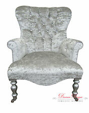 REDUCED TO CLEAR Crushed Silver Diamonte Velvet Small Button Back Armchair