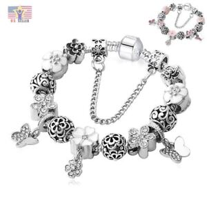 Luxury 925 Silver Crystal Clover Pandora Charm Bracelet Bangle Mother's Day Mom
