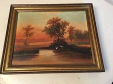 Antique Landscape Oil Painting Sunset Over Water Luminist Style 1876
