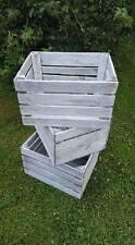 """Shabby Chic Vintage Blanco Wash Apple Cajón De Almacenamiento Madera Cajas """"bushel"""" caja de fruta"""