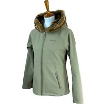 Marmot Women's Furlong Faux Fur Hood Soft Shell Fleece Lined Brown Jacket Medium