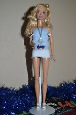 Blonde Barbie with OOAK Silver and White Jewelry (1)