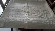 antico lenzuolo matrimoniale di puro lino ricamato o tenda
