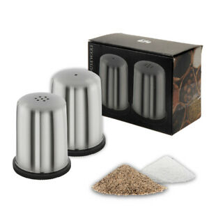 Salt and Pepper Pots Stainless Steel Jar Set Shakers Holders Dining Cafe Table