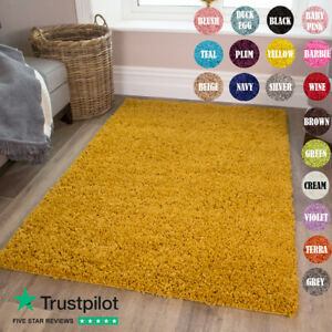 SMALL X LARGE SIZE THICK PLAIN SOFT SHAGGY RUG NON SHED 3cm PILE MODERN RUGS