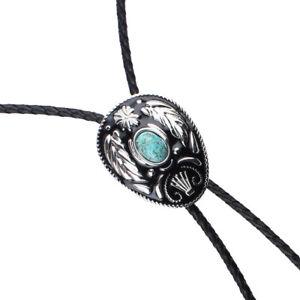 Retro Western Necktie Fashion Natural Turquoise Enamel Leather Bolo Ties
