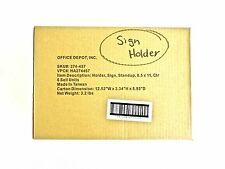 "Office Depot 8.5"" X 11"" Sign Holder L shape base New in Box set of 6"