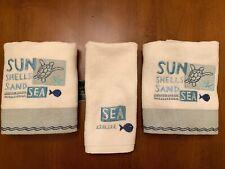 Avanti Laguna Beach Set Of 3 Towels Coastal  2 Hand 1 Fingertip NEW