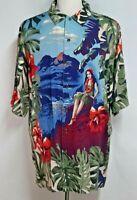Nautica Mens sz L Blue Green Floral Linen Rayon Hula Girl Hawaiian Shirt