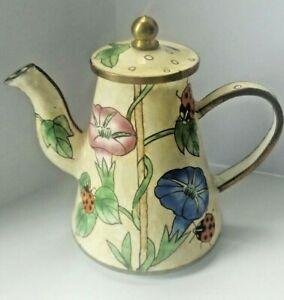 Charlotte Di Vita small enamel teapot hand painted ladybird design