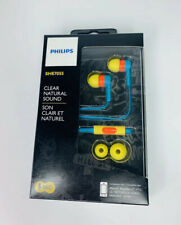 Philips SHE7055 In Ear Headphones With Mic Clear Natural Sound Green Red Yellow