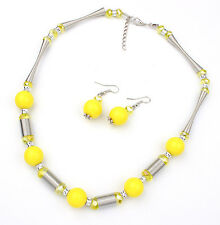 silver plated spring chain yellow beads necklace/earrings set US SELLER