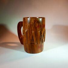 Vintage Hawaii Hand Carved Wood Tiki Bar Stein Mug 1975