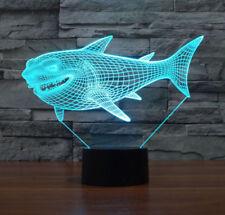 3D Shark Night Light Optical Illusion Mood Lamp Nursery Home Light Party Decor