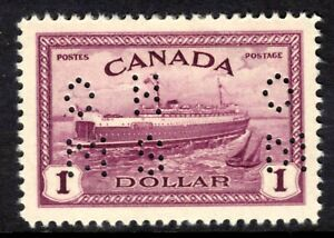 """CANADA OFFICIAL #O273 $1, 1946 """"OHMS"""" 4-HOLE PERFIN, MLH"""