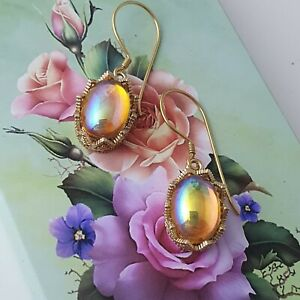 Handmade Topaz Czech Ab Gold Plated Earrings