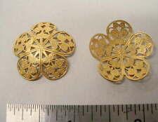 Raw Brass 5 Petal Filigree Findings 1/2 dozen - 6 pieces