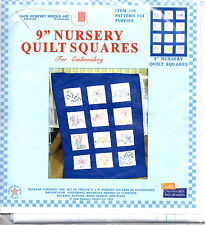 "Baby Quilt Squares 9"" Puppies Embroidery Nursery 12 Dogs DIY Cotton/Poly New"