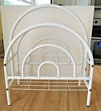 Vintage White Metal Art Deco Magazine Newspaper Rack Holder