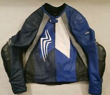 Hein Gericke Pro Sports Leather Jacket Blue White Hard Edge Racing Size 58 40""