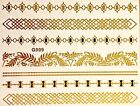 Flash solo uso Temporal Tatuaje Adhesivo Oro Negro 7 piezas Pulsera