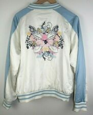Disney Alice in Wonderland Embroidered Satin Bomber Jacket Women's Size XL