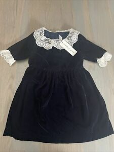 NWT Janie and Jack girl WINTER HOLIDAY navy velvet lace dress 3 3T 4 4T 5 5T