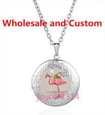 Flamingo and Frog Cabochon Tibetan silver Glass Locket Pendant Necklace HZ-6219