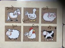 6 Farm Animals Cork Placemats/Coasters PIG cow Sheep Chicken Duck Horse