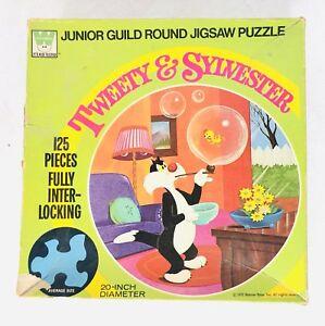 Vintage Looney Tunes 1972 Golden Tweety & Sylvester Round Jigsaw Puzzle 125 Pcs
