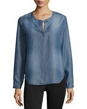 NEW CLOTH & STONE WOMEN SzS SPLIT-NECK LONG SLEEVE HENLEY IN DARK VINTAGE WASH