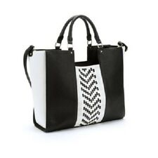 Under One Sky Woven Chevron Tote With Crossbody Bag Black White NEW NWT Purse