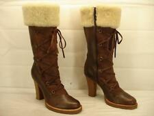 womens 10 B M VINCE CAMUTO Brown Leather Shearling Fur Cuff Tall Boots Knee High