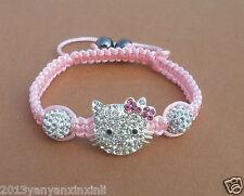 Beautiful!Crystal Lovely Cat Girl Childen kids Shamballa Bracelet Jewellery gift