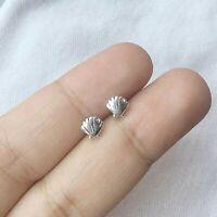 925 Sterling Silver Sea Shell Stud Earrings Seashell Ocean Scallop Nautical Post