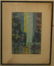 Vintage 1958 HAL POLIN Cubist MID CENTURY MODERN Architecture Painting - LISTED