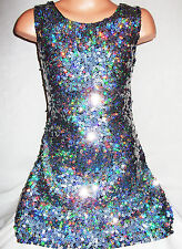 GIRLS 60s STYLE SPARKLING SILVER GLITZY HOLOGRAPHIC SEQUIN DANCE PARTY DRESS TOP