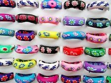 FREE Wholesale Bulk 10Pcs Flower FIMO Polymer Clay Rings Fashion Jewelry Charms