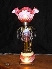 FENTON CRANBERRY HOBNAIL BRASS BRONZE SWANS OLD LAMP FIGURINES