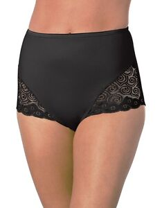 New Hanes Panties Brief Lace Panel Style HW54 In Beige, Black and White.