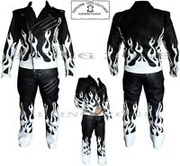 FLAME SKELET BLACK & WHITE MENS MOTORBIKE / MOTORCYCLE / FASHION  LEATHER SUIT