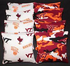8 All Weather Cornhole Bean Bags made w VIRGINIA TECH fabric V Tech Hokies NCAA