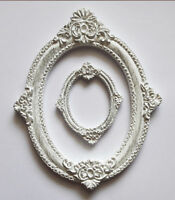 Set of 2 Oval Frames Photo White is Covered With Gold Patina Worldwide Delivery