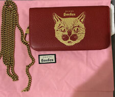 GUCCI Wallet With Chain Gold Red Leather GUCCI GARDEN