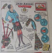 Jane Arden Sunday with Large Uncut Paper Doll from 8/27/1933 Full Size Page!