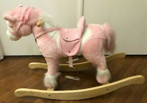 29inch Animated Rocking Horse Moving Head, Tail Sound Pink 3 AA NEW