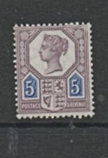 GB 1887-1900 5d dull purple & Blue Die1 SG207 mounted mint MH stamp original gum