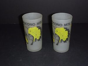 Pr Vintage Pocono Mountains Souvenir Frosted Bar Glass Indian Hunting Scenes