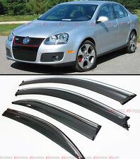 2006-2010 VW MK5 JETTA SEDAN SMOKE WINDOW VISOR DEFELCTOR W/ CHROME TRIM & CLIPS